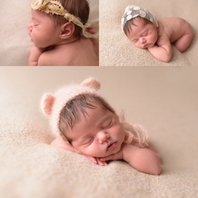 Posed newborn session of baby girl in creams and peach photographed by sweet beginnings photography by