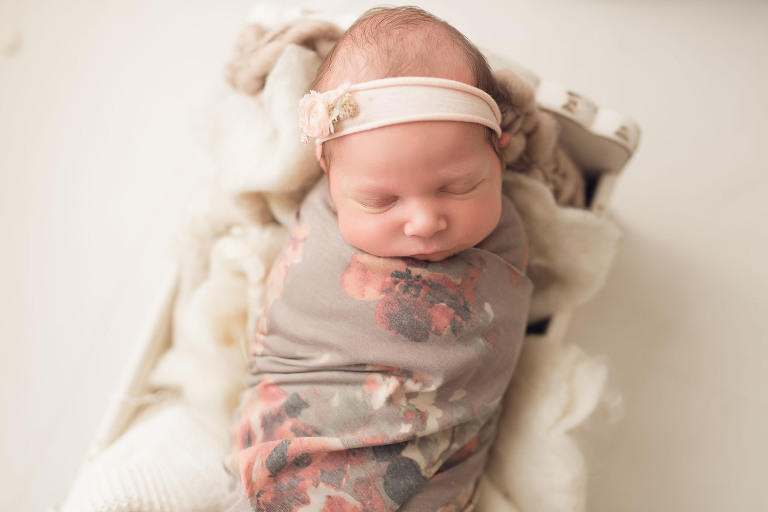 A baby is swaddled | Sweet Beginnings Photography by Stephanie | Natural Light Newborn Photography