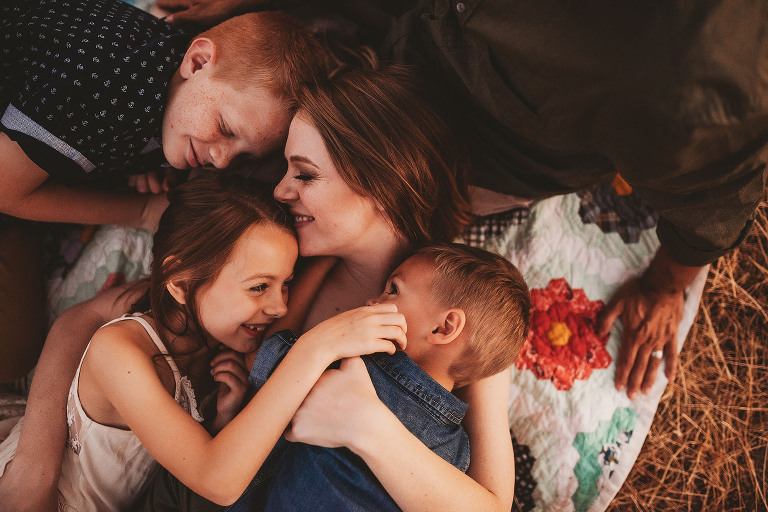 Children pile on top of their mother  | Sweet Beginnings Photography by Stephanie | Sacramento Area Family Photographer