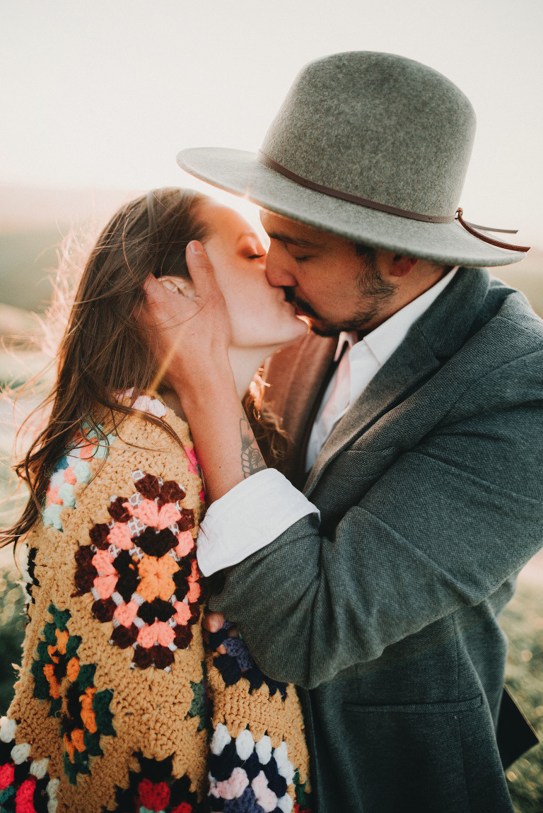 A man kisses his fiance | Sacramento Engagement Photography