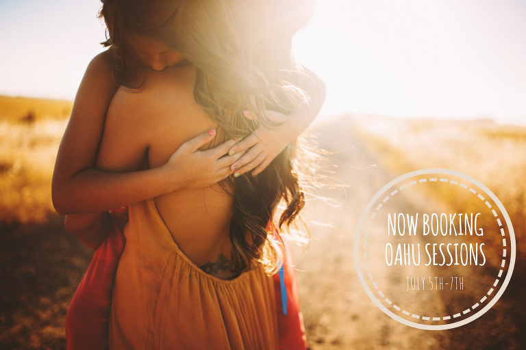 Now Booking Oahu Travel Sessions.........A mother carries her daughter into the sun